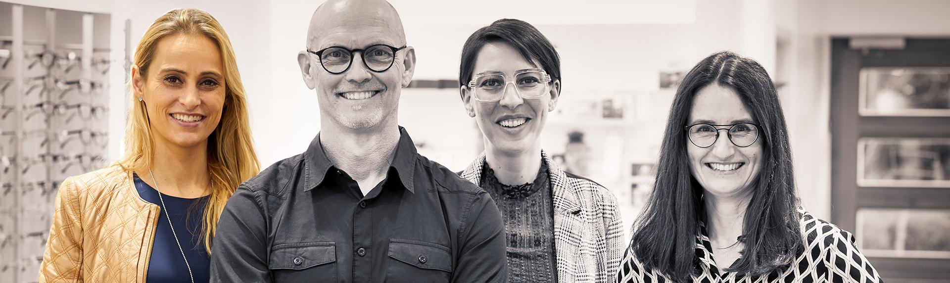 Team der Augenoptiker Optik Meirandres Gauting mit Fokus auf Frau Berner-Burhenne